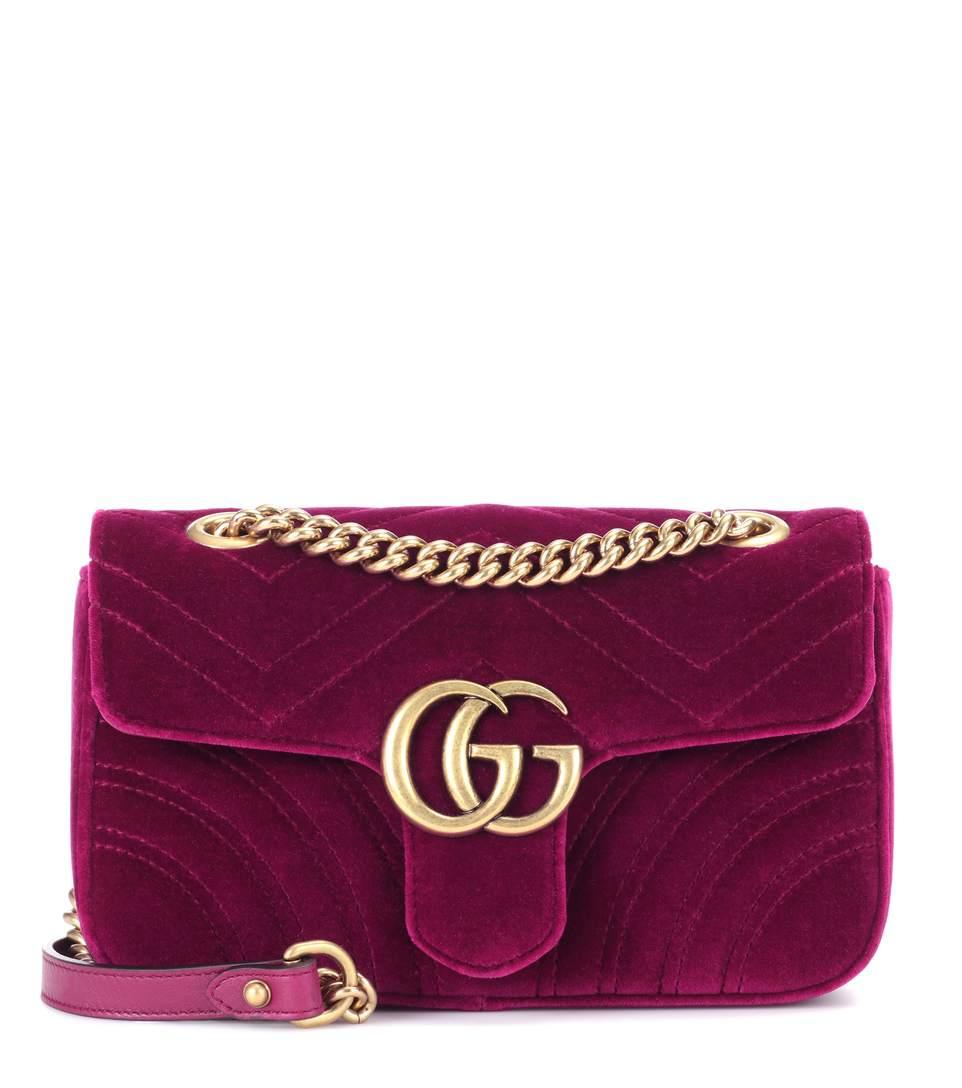 SOPHIE HULME Gg Marmont Mini Velvet Shoulder Bag in Purple
