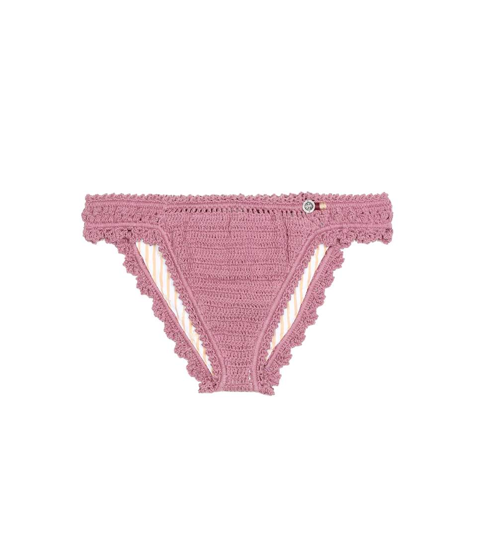SHE MADE ME Amira Crochet Cheeky Bikini Bottom - Orchid Size M/L in Purple