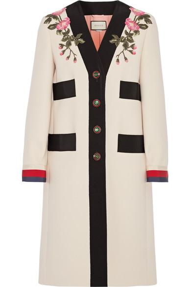Appliquéd Grosgrain-Trimmed Wool Coat in Ecru