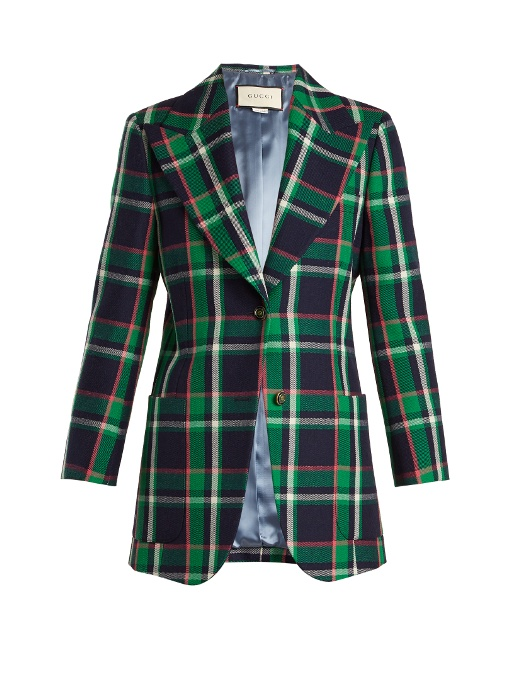 Checked Tiger-Appliqué Wool Jacket in Green