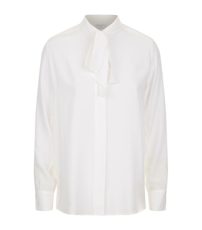 Caline Tie-Neck Silk Shirt in Beige
