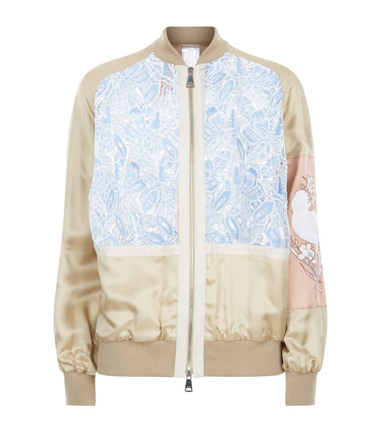 Beige Viscose Bomber Jacket With Contrasting Lace And Embroidery in Black