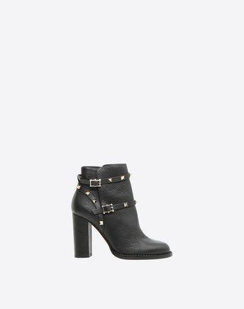 Rockstud 100 Black Leather Ankle Boots