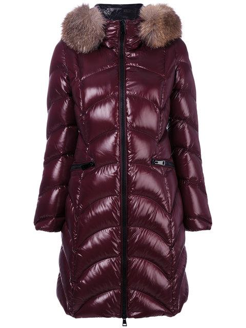 Shiny Quilted Down Coat W/Fox Fur Hood, Maroon