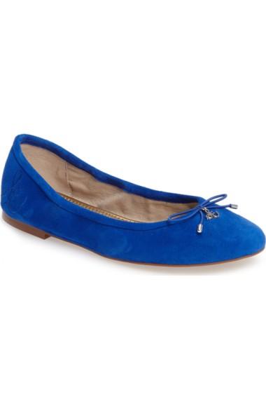 99266f8325220 Sam Edelman  Felicia  Flat In Bright Blue Suede