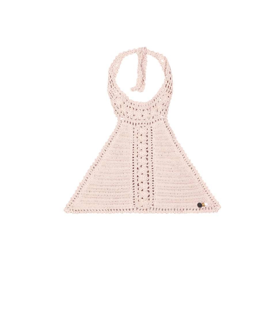 SHE MADE ME Farah Crochet Halter Bikini Top - Peach Size S/M in Pink