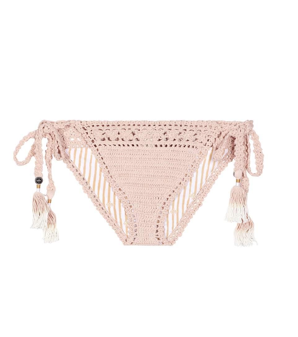 SHE MADE ME Farah Crochet String Bikini Bottom - Peach Size M/L in Pink