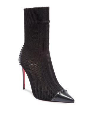Dovi Dova 100 Spiked Cap Toe Knit Mesh Booties in Black