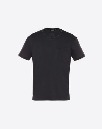 VALENTINO Rockstud Untitled Basic Cotton T-Shirt, Black