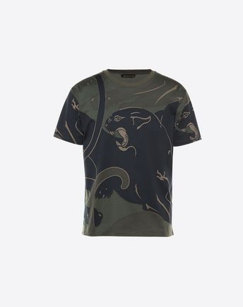VALENTINO Panther & Camo Cotton Jersey T-Shirt in Military Green