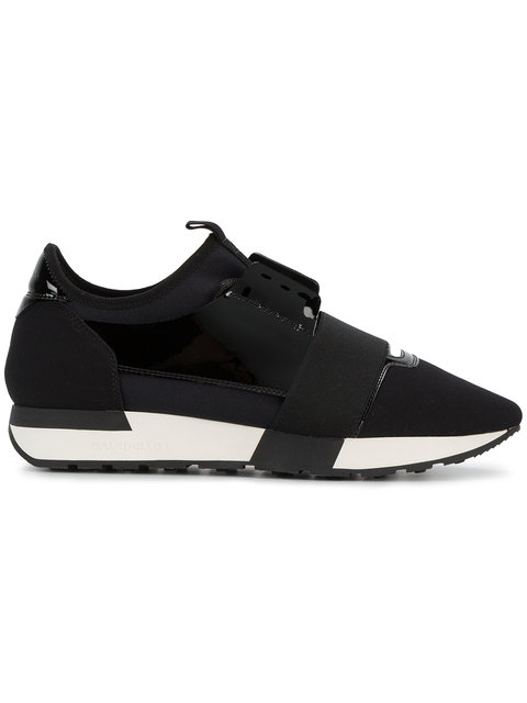 Ladies Black Race Runners Leather And Jersey Low-Top Trainers in White