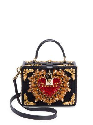 Dolce Box Embellished Cross-Stitched Bag in Black