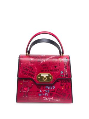 Large Welcome Leather Top Handle Bag, Fuchsia