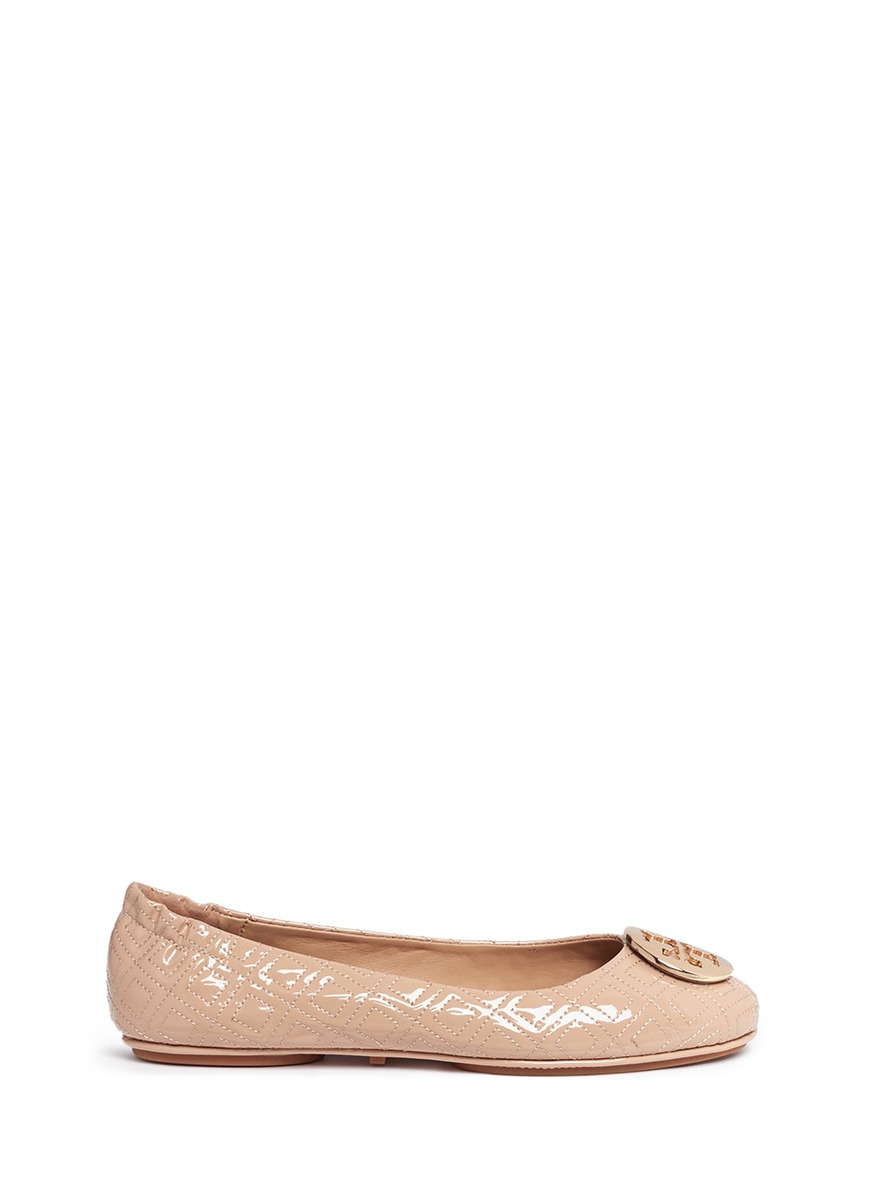 e7de9eda5cf2f4 TORY BURCH  MINNIE MARION QUILTED  PATENT LEATHER BALLET FLATS ...