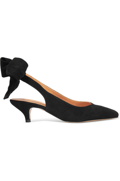 60Mm Sabine Suede Slingback Pumps in Black from Moda Operandi