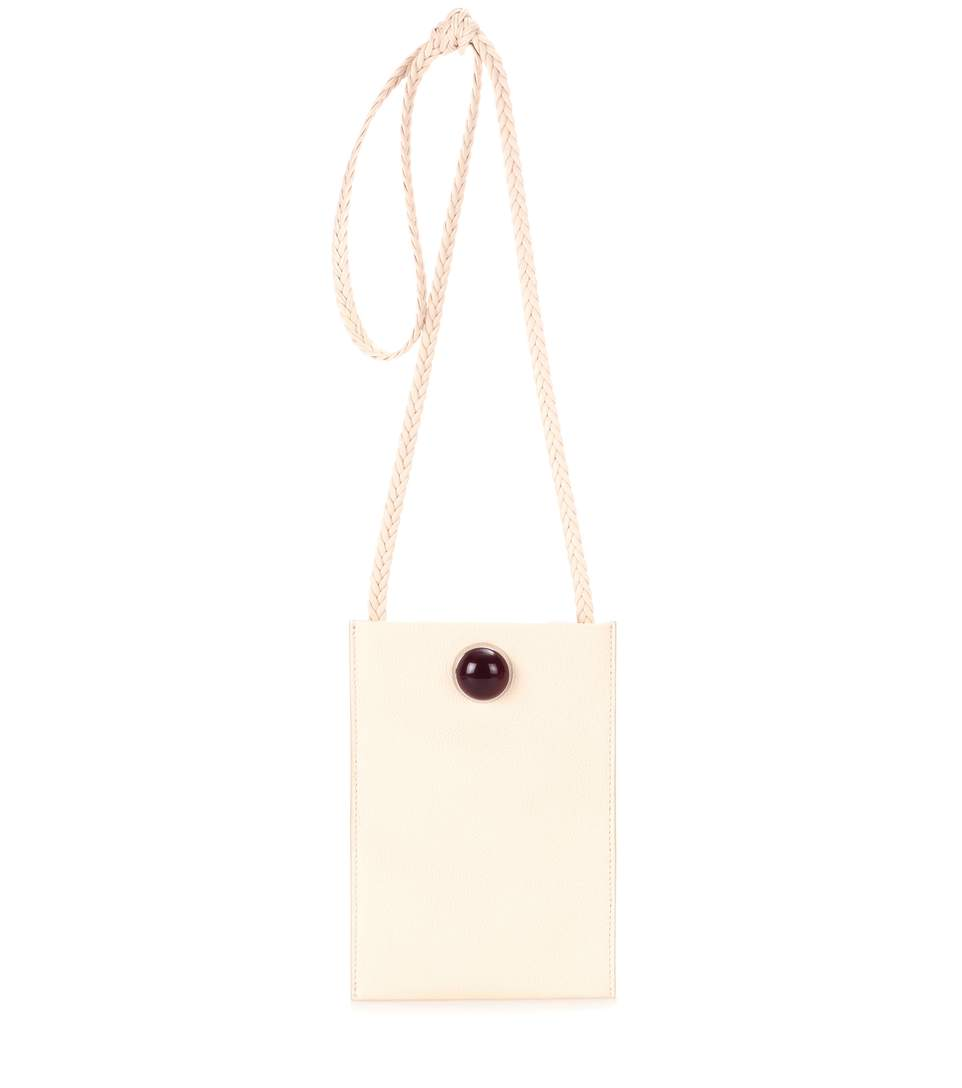 Small Medicine Pouch Leather Shoulder Bag, White
