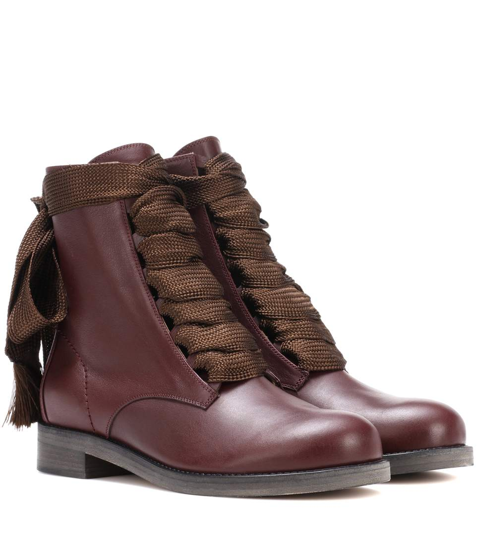 Harper Lace-Up Leather Ankle Boots in Purple