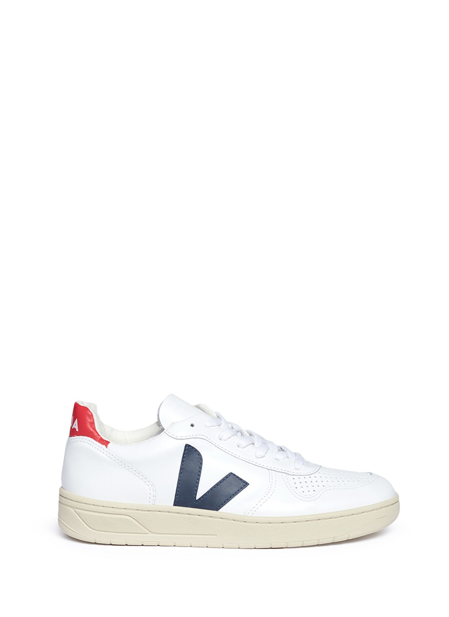 'V-10' Perforated Leather Sneakers, White