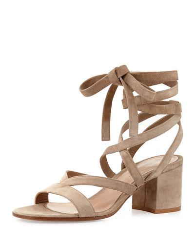 Janis Low Suede Lace-Up Sandal, Tan/Camel