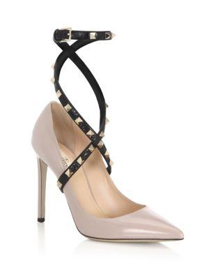Studwrap Leather Ankle-Strap Pumps, Poudre