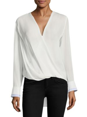 a052ec380b729 RAG   BONE VICTOR SURPLICE LONG-SLEEVE SILK BLOUSE