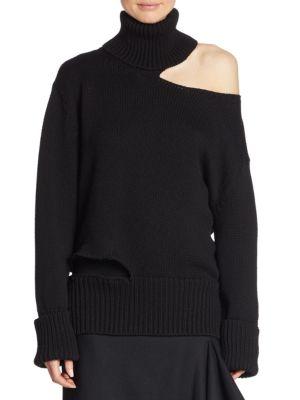Turtleneck Cutout One-Shoulder Wool Knit Sweater, Black