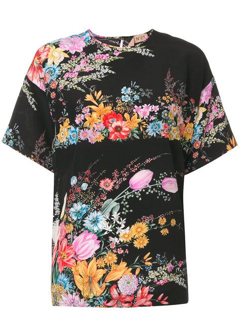 Nº21 Floral Printed T-Shirt - Black