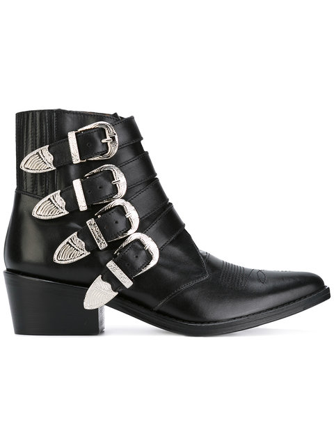 TOGA Black Leather Ankle Boots