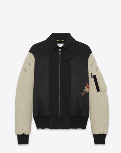 Embroidered Bomber Jacket In Black Military Cotton With Ecru Sleeves