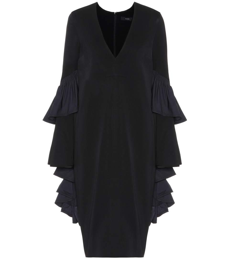 Femme Ellery Épaule Froide Crêpe Drapé Robe Midi Noir Taille 6 Ellery 9Dju0wUjWl