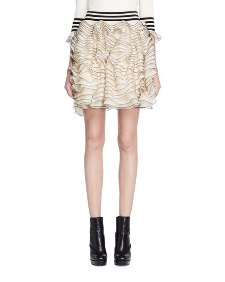 Alexander Mcqueen Layered Ruffle Knit Skirt, Ivory In Ivory-Black