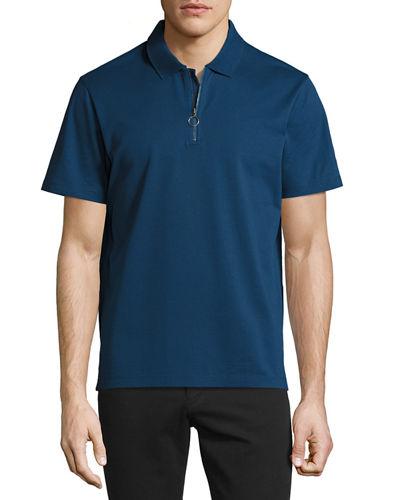 VINCE Pique Zip Placket Slim Fit Polo Shirt in Black
