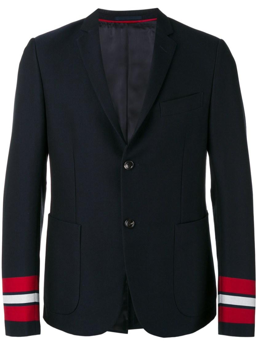 Gucci Cambridge Cotton Jacket With Stripes In Dark Blue Cotton