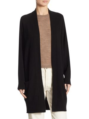 Cashmere Raglan Sleeve Cardigan Sweater in Black
