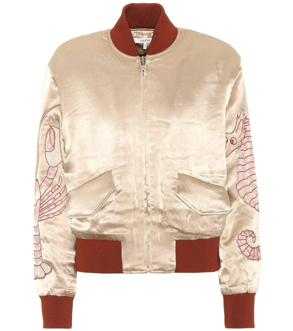 Woman Leclair Embroidered Satin Bomber Jacket Sand, Beige