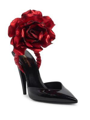 Freja 105 Pump With Red Flower In Black Patent Leather