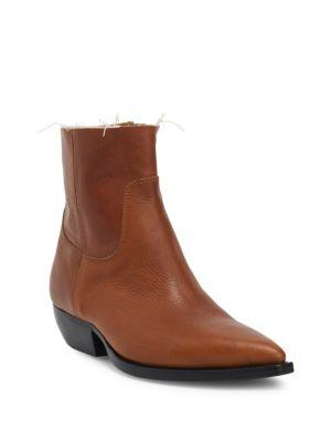Theo Eli Leather Ankle Boots, Black, Cognac