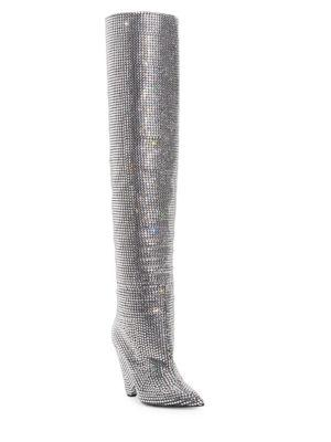 Niki 105 Thigh-High Boot With All-Over Embroidered White Crystals, Grey