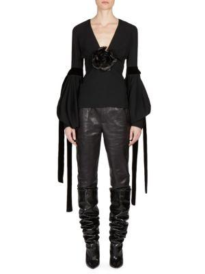 Plunging V-Neck Top With Oversized Sleeves In Black Sablé And A Black Leather Flower