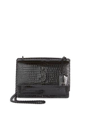 Monogram Sunset Medium Crocodile-Embossed Leather Shoulder Bag in Black