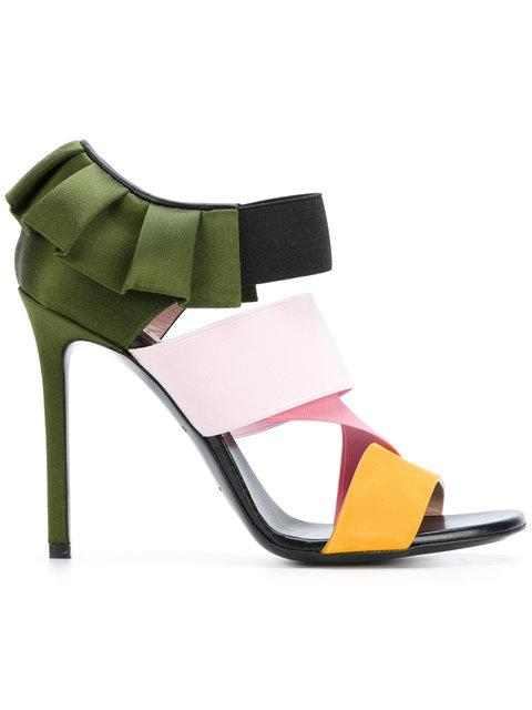 Woman Pleated Satin, Suede And Woven Sandals Multicolor, Averde