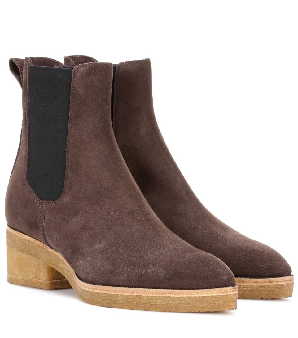DRIES VAN NOTEN Suede Ankle Boots in Lrowe