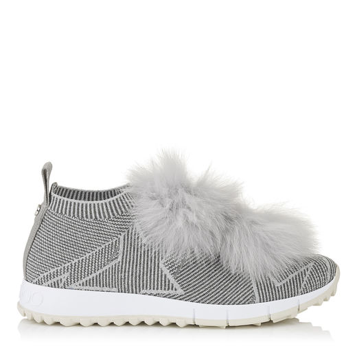 Norway Moonstone Knit And Lurex Trainers With Silver Fur Pom Poms in Grey