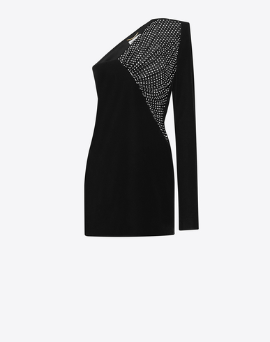 Straight-Cut Asymmetrical Mini Dress In Black Velvet