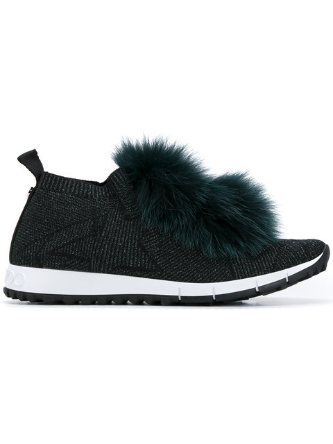 Norway Black Knit And Lurex Trainers With Fur Pom Poms