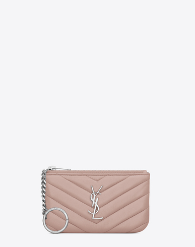 Key Pouch In Powder Pink Matelassé Leather, Pale Blush