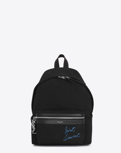 SAINT LAURENT Mini City Embroidered Backpack In Black And Blue Diagonal Canvas, Noir/ Blue