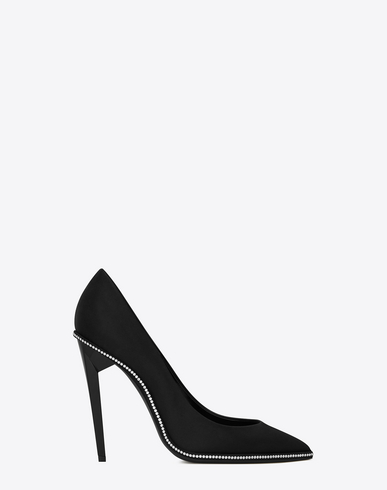 Freja 105 Pump In Black Satin And White Crystals