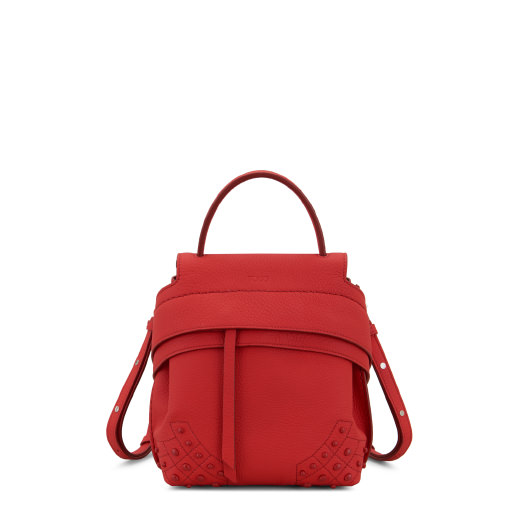 Mini Wave Leather Backpack, Red