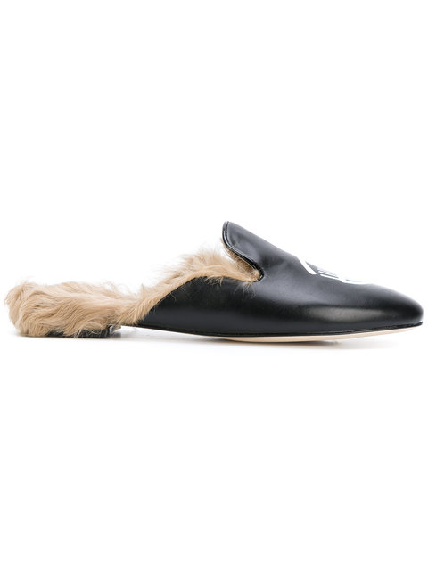Women'S Genuine Leather Slippers Sandals in Black